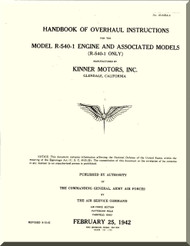 Kinner R-540 -1 Aircraft Engine Overhaul Manual  ( English Language )