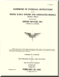 Kinner R-540 -1 Aircraft Engine Overhaul Manual  ( English Language )