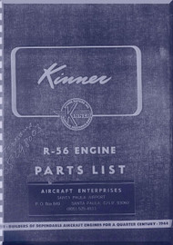 Kinner R-56 Aircraft Engine Parts Catalog Manual  ( English Language )