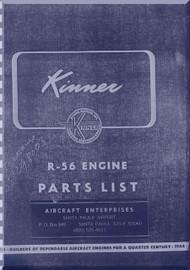 Kinner R-56 Aircraft Engine Parts Catalog Manual  ( English Language )