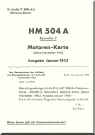 Hirth Motoren 504 A-2 Aircraft Technical Manual - Motoren Karte - 1943