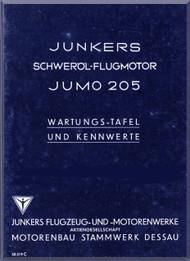 Junkers Flugzeug- und Motorenwerke A.G. Jumo  205  Aircraft Engine Maintenance  Manual  ( German Language ) Wartungs -Tafeil und Kennwerte