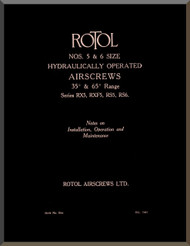 Rotol Aircraft Propellers Technical Hydraulic Operated Manual  N.ro 5 & 6