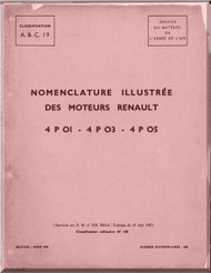 Renault Type 4P-O3, -O5   Aircraft Engine  Parts Catalogue Manual  ( French Language )  - 1949