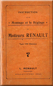 Renault Type 130 Chevaux Aircraft Engine  Technical Manual  ( French Language )  -