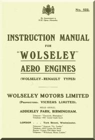 Wolseley  Renault Types Aero  Aircraft Engine Instructtion  Manual  ( English Language )