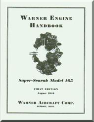 Warner Super Scarab 165   Aircraft Engine Handbook Manual  ( English Language )