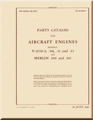 Rolls Royce Packard Merlin V-1650 -9 -11 -21 Aircraft Engine Parts Manual - 02-55AD-4 - 1945