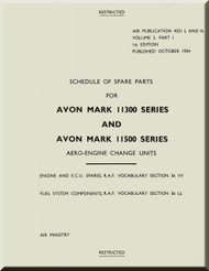 Rolls Royce Avon Mk.11300 and 11500 Series  Aircraft Engine Schedule of Spare Parts AP 4321  . 1954  ( English Language )