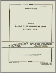 Rolls Royce Packard Merlin V-1650 -3 -7 -13 Aircraft Engine Parts Manual 02A-55AC-4 - 1942