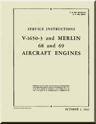 Rolls Royce Packard Merlin V-1650 -3 68 69 Aircraft Engine Service Manual 02-55AC-2