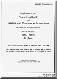 Douglas  R5D-5   Aircraft  Suplement Pilot's Handbook and Erection and Maintenance Instruction  Manual  ,  NAVAER 0-40NM-520, 1945