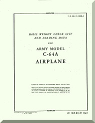 Nooduyn Norseman C-64 A Aircraft  Basic Weight Checklist and Loading Data  Manual AN  0155CB-2, 1943