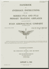 Ryan PT-21 PT-22  Airplane Overhaul Manual -  T.O. 01-100GC-3 -1942