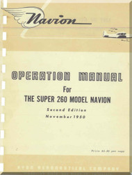 Ryan Navion Model Super 260 Aircraft Operation Manual - 1950