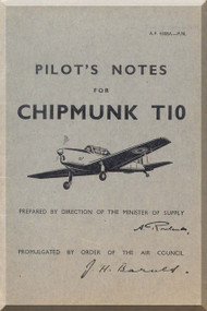 De Havilland Chipmunk T10 Aircraft Pilot's Notes Manual AP 4308A