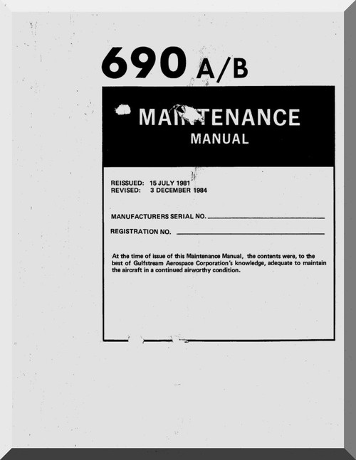 Aero Commander 685 Aircraft Maintenance Manual , 1981