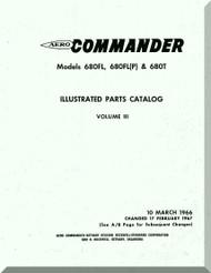 Aero Commander 680 FL, FL(P) T  Aircraft Illustrated Parts Catalog Manual , 1966