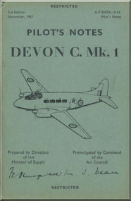De Havilland Devon C. Mk 1 Aircraft Pilot's  Notes Manual