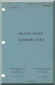 English Electric Canberra P.R. 9  Aircraft  Pilot's Notes Manual  AP 191B-0409-15