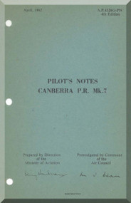 English Electric Canberra P.R. Mk.7  Aircraft  Pilot's Notes Manual  AP 4326G