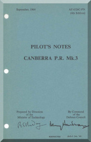 English Electric Canberra P.R. Mk.3 Aircraft Pilot's Notes Manual AP 4326C
