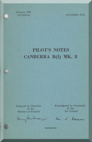 English Electric Canberra B Mk.8  Aircraft  Pilot's Notes Manual  AP 4326H