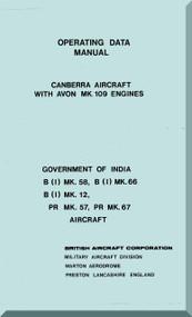 English Electric Canberra  B( I) Mk.58 Mk.66 Mk. 12  Aircraft Operating Data Manual -  ( English Language )