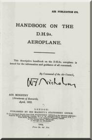 Airco De Havilland DH-9 A Aircraft Aeroplane Handbook  Manual - Air Publication 878
