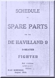 Airco De Havilland DH-9  Aircraft Aeroplane Spare Parts  Manual