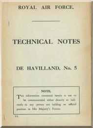 Airco De Havilland DH-5 Aircraft Technical Notes Manual - RAF