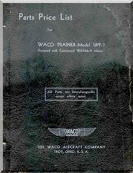 WACO UPF -7 Aircraft Parts Price List Manual