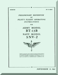 Vultee   BT-13 B  SNV-2  Preliminary Handbook of pilot's Flight Operating instructions  Manual - AN 01-50 BD-1 ,1943