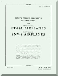 Vultee   BT-13  A,  SNV-1, Pilot Flight Operating Instructions  Manual -  T.O. 01-50BC-1-95 ,1945