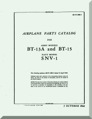 Vultee   BT-13  A, BT-15, SNV-1, Airplane Parts catalog   Manual -  T.O. 01-50BC-4 ,1944