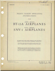 Vultee BT-13A SNV-1   Aircraft Pilot Flight Operating Instructions Manual