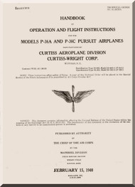 Curtiss P-36 A C Series Operating and Flight Instructions Manual  T.O No. 01-25-CB-1 1940