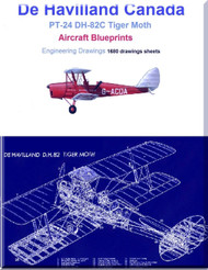 De Havilland PT-24 DH-82C Tiger Moth Aircraft Blueprints - Download