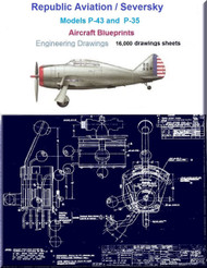 Republic Aviation  P-43 A,B,C,D,E YP-43 / Seversky P-35 / AT-12 Series  Airplane Aircraft  Engineering Drawings Blueprints 5 DVD