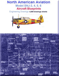 North American Aviation SNJ-3,4,5,6 Aircraft Blueprints Engineering Drawings - DVD