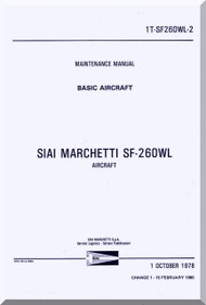 SIAI Marchetti SF-260 WL Aircraft Maintenance Manual - Basic Aircraft ,  Manuale di Manutenzione  ( English Language ) , 1T-SF260WL-2