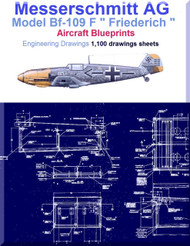 Messerschmitt Bf-109 F Aircraft Blueprints Engineering Drawings - DVD