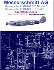 Messerschmitt Bf-109 G K Aircraft Blueprints Engineering Drawings - DVD