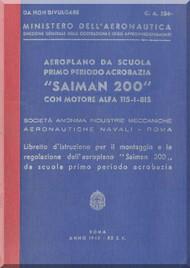 Saiman 200 Aircraft Erection and Maintenance Manual,  Istruzioni per il Montaggio  e la Regolazione ( Italian Language ) ,