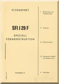 SAAB J 29 F Aircraft  Flight  Manual,  ( Swedish  Language )