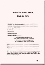 SAAB 91C Safir Aircraft  Flight  Manual,  ( English Language ) ,