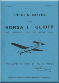 Airspeed Horsa I Glider Aircraft Pilot's Notes Manual