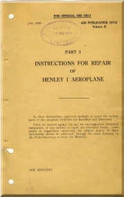 Hawker Henley Aircraft  Structural Repair  Manual - A. P. 1577A