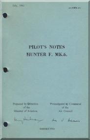 Hawker Hunter F Mk. 6 Aircraft  Pilot's Notes Manual