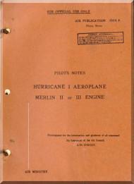 Hawker Hurricane I  Aircraft  Pilot's Notes Manual - 1940